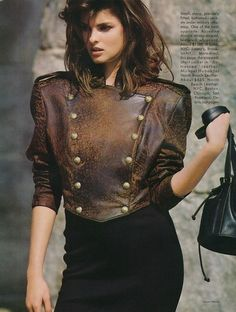 """Linda Evangelista """"Star Jackets"""" - Vogue US August 1987 - ph. Description from pinterest.com. I searched for this on bing.com/images"""