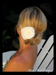 June bridal hair flower, bridal fascinator, Ivory Chiffon Floral Fascinator with birdcage Tulle, bridal hair accessories