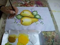 PINTURA EM TECIDO - Pêras - How to painting a pear - YouTube