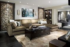 No one but Candice would treat wood and use it as art. Sectional usage is what she does best! The fury ottoman is terrific