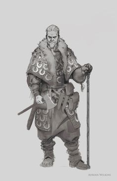 Viking Sketch , Adrian Wilkins on ArtStation at https://www.artstation.com/artwork/2LBEB