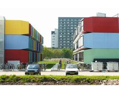 shipping container apartment complex - Google Search Container Architecture, Apartment Complexes, Rental Apartments, Utrecht, Dorm, Tiny House, Multi Story Building, Container Houses, Ship