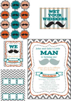 Mustache Bash First Birthday Party Set