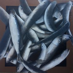 Vissen op een Portugese mark - olieverf | Fish on a Portugese market - oil painting