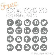20 cute social media icons rounded - color oslo grey - free download #socialicons #freebies #graphics #icons