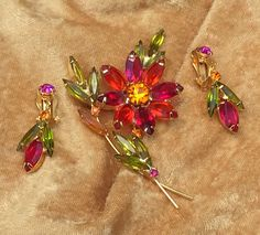 Juliana Style Rhinestone Demi Open Back Navettes Rhinestone Fruit Salad Floral Pin & Dangle Earrings Gorgeous Vintage Jewelry Gift for Her by CrowsNestAntiques on Etsy