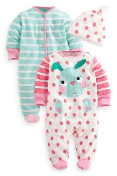 Buy Two Pack Bunny And Stripe Sleepsuits And Hat (0mths-2yrs) from the Next UK online shop