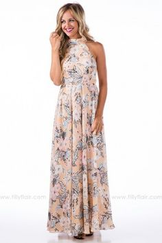 b4fabe4f54c Love at First Sight Floral Maxi Dress in Taupe Love At First Sight