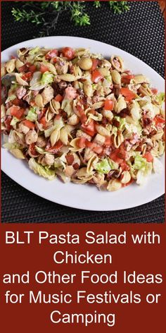 This BLT Pasta Salad with Chicken is perfect for taking to Music Festivals, camping, or any picnic! Here are other outdoor food tips!