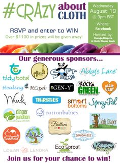 #CrazyAboutCloth Facebook Party #clothdiapers #giveaway