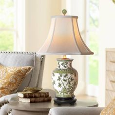 This porcelain vase table lamp features pleasing shape and green color. Style # at Lamps Plus. Red Lamp Shade, Bungalow Decor, Painting Lamps, Designer Shades, Porcelain Vase, Porcelain Jewelry, A Table, Table Lamps, Bedside Tables
