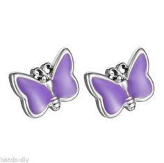 BD Women New Fashion Purple Stainless Steel Butterfly Earrings Ear Stud