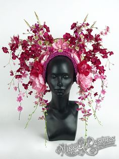 #MissGDesigns #flowerheadband #crown #headpiece #headdress #pink #orchids #pinkheaddress