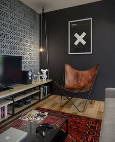 black wall in living room