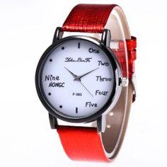 ZhouLianFa English Scale Female Crocodile Pattern Strap Leisure Quartz Watch with Gift Box - Red  Pin buckle Business