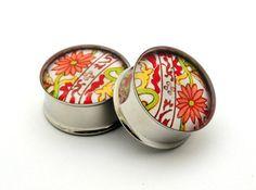 Japanese Flower Picture Plugs gauges  00g by mysticmetalsorganics, $19.99