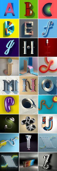 Inspiring alphabet, wonderfully executed and designed by Muokkaa www.muokkaa.com #typography #alphabet #3D