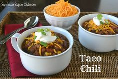 Taco Chili  Sunflower Supper Club Taco Chili, No Bean Chili, Easy Dinner Recipes, Great Recipes, Crockpot Recipes, Soup Recipes, Food Dishes, Main Dishes, Soups And Stews
