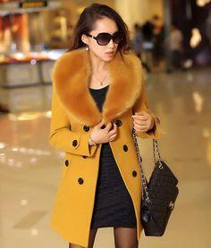 2016 Casaco de inverno feminino jaqueta longa de lã de pele colarinho Slim outwear casaco