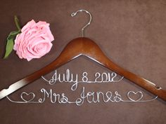 Hanger Deluxe with Date, Personalized Custom Bridal Hanger, Brides Hanger, Bride, Name Hanger, Wedding Hanger, Personalized Bridal Gift. $34.99, via Etsy.