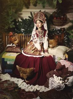 From country Russia. Russian Beauty, Russian Fashion, Mode Russe, Folk Fashion, Womens Fashion, Rodney Smith, Folk Costume, Costumes, Traditional Outfits
