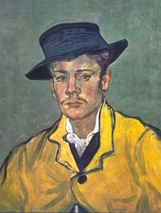Portrait of Armand Roulin by Vincent Van Gogh #Poster #Print. #VanGogh #Vincent #portrait #Roulin #Armand #painting #art #Impressionism #Postimpressionism #fineart #Arles #yellow #hat