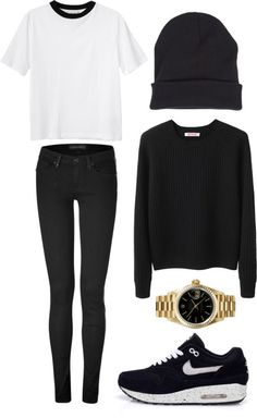 √ White Top with Black Collar √ Black Knitted sweater √ Black Skinny Jeans √ Black beanie √ Nike Air Max Black Shoes  #cosy outfit #casual winter outfit