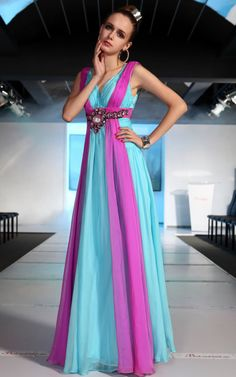 gorgeous purple and turquoise sleeveless long wedding guest dress