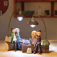 DecBest Couple Night Light Resin Crafts Ornaments Retro Lovers Miniature Figurines LED Lamp Ideal Gifts is Multicolor-NewChic Mobile Luminaria Diy, Night Couple, Girls Night, Miniature Figurines, Lampe Led, Personalized Products, Resin Crafts, Couple Gifts, Creative Gifts
