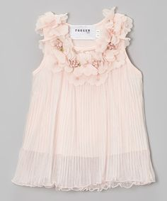 Look at this #zulilyfind! Peach Flower Pleated Chiffon Swing Dress - Toddler & Girls by Fouger for Kids #zulilyfinds