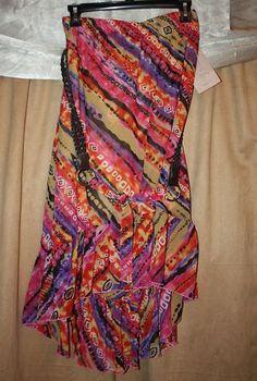 Woman's Size S / Small Multi-Colored Skirt w/ Belt Ruffle Hem Elastic Waist NEW | eBay