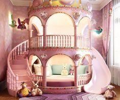 Castle Beds For Girls, Bed For Girls Room, Little Girl Rooms, Girls Bedroom, Kids Bed Design, Kids Bedroom Designs, Room Design Bedroom, Room Ideas Bedroom, Bunk Bed Designs