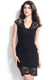 Gorgeous Flawless Lace Black Peplum Her Dress
