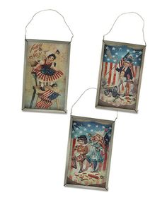 Look what I found on #zulily! Americana 'Fourth of July' Wall Art - Set of Three #zulilyfinds