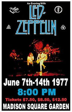 """1977 LED ZEPPELIN *MADISON SQUARE GARDEN* CONCERT HANDBILL ( GIG POSTER) - measures 17"""" x 11"""" and is ready to pop in a frame in an instant. Led Zeppelin's 1977 North American Tour was the eleventh and final concert tour of North America by the English rock band. The tour was divided into three legs, with performances commencing on 1 April and concluding on 24 July 1977. The tour was cut short following the death of Plant's son.  $15.00 & Free Shipping."""