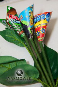 Create a scratch lotto ticket bouquet and garter for the toss.  This is an awesome idea!