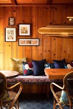 Brick Flooring, Wood Paneling, Floors, Michigan Lake House, Wood Panel Walls, Dining Nook, Hotel Interiors, Interior Design Inspiration
