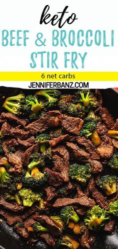 Easy Keto Beef and Broccoli Stir Fry - This low carb and keto stir fry recipe is a perfect weeknight family meal as it is ready in under 20 minutes Serve over steamed or fried cauliflower rice to make it a complete meal 6 Net Carbs Keto Foods, Healthy Low Carb Recipes, Low Carb Dinner Recipes, Keto Dinner, Keto Recipes, Paleo Meals, Paleo Food, Dessert Recipes, Low Carb Food