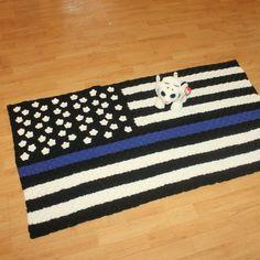Thin Blue Line Flag Blanket Pattern By Straight Hookin