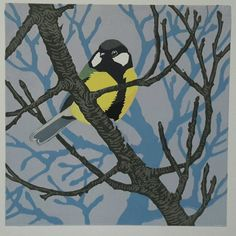 Winter Branches (Great Tit) - linocut - John Hatton, U. Great Tit, Branches, Printmaking, Bird, Winter, Birds, Winter Time, Printing, Graphics