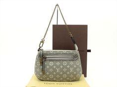 Louis Vuitton Auth Monogram MINI Lin Platine Mini Pochette Accessoires POUCH Bag…