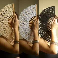 Lace Hand Fan for Wedding Bridal Party Decoration Cosplay Dance Burlesque Photography Props on Etsy, $9.50