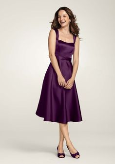 Pretty purple tea length dress.