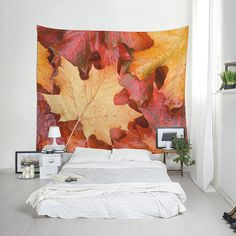Golden autumn wall hanging, Fabric wall tapestry, Big tapestries, Nature wall decor, Autumn leaves, Dorm room gift, Housewarming. MW081 Fabric Wall Decor, Hanging Fabric, Dorm Room Gifts, Dorm Rooms, Living Rooms, Dorm Tapestry, Tapestries, Autumn Leaves, Maple Leaves