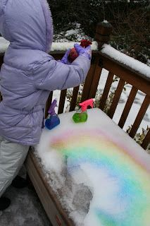 Fill spray bottles with food coloring water to paint snow! Great Color mixing activity. From Pink and Green Mama: Crafty Snow Day!!