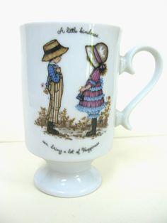 Petticoats Pantaloons Mug - Holly Hobbie Style - Vintage Mug -  Delgado Mug - Porcelain Mug - Girl With Big Hat - 1970s Childhood by MissieMooVintageRoom on Etsy