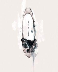 Pretty fashion illustration - Marc Jacobs jewelled shoe drawing // Michael Sanderson