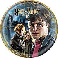 """Harry Potter and the Deathly Hallows Dinner Plates 8ct. Set of 8 8.75"""" inch Harry Potter and the Deathly Hallows paper plates. Glossy full color image. Great for parties, picnics, pizza, movie night."""