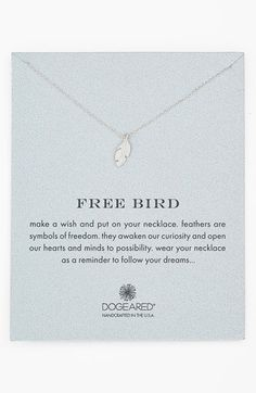 Dogeared 'Reminder - Free Bird' Boxed Feather Necklace available at @nordstrom