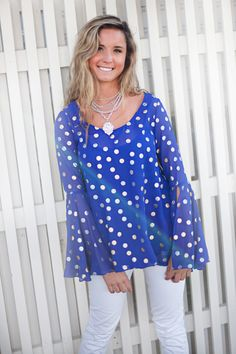 Blue polka-dot top by JudithMarch!  Ready for Fall!   #judithmarch #style #shop #fashion #top #girls